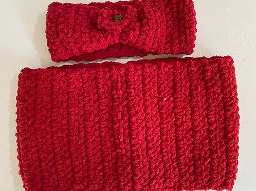 Red Crochet Infinity Scarf & Headband