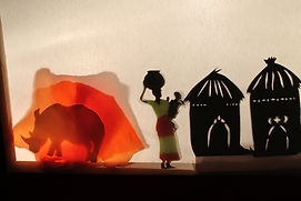 Gingko en Afrique, ombres chinoises, spectacle jeune public, compagnie oiseau lyre