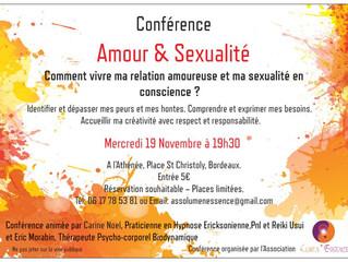 """Conférence """"Amour & Sexualité"""" le 19 Novembre à Bordeaux"""