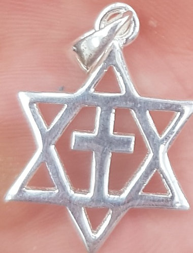 Silver Magen David and Cross in One
