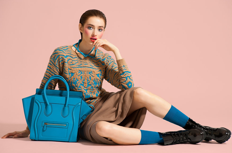 model with purse