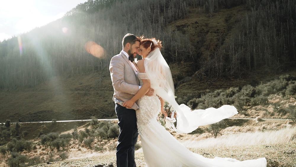 wedding couple windy day in Queenstown New Zealand