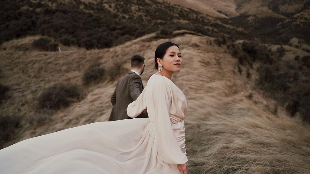 bride and groom wild elopement queenstown