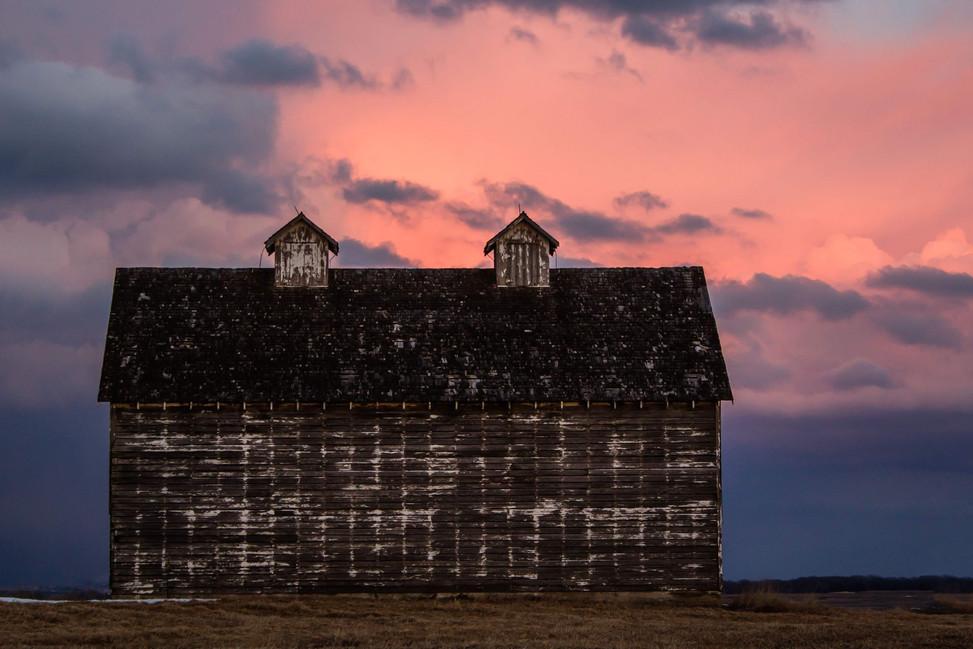 faded white barn pink sunset 1.5.jpg