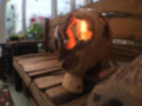 Woodturned globe lamp
