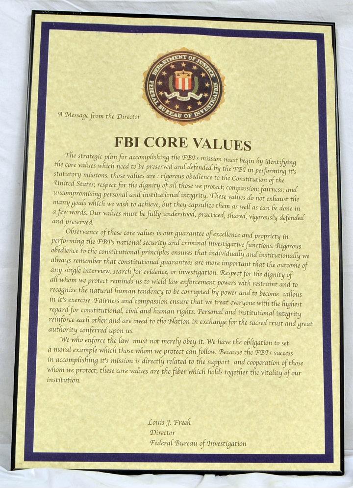 FBI Core Values - Louis J. Freeh director