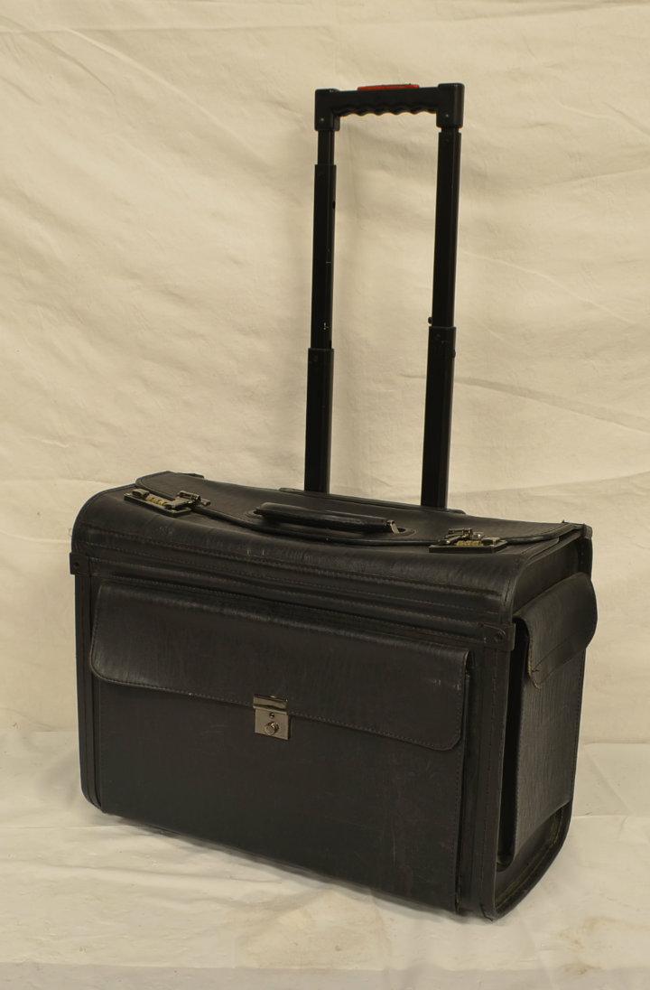Rolling leather legal briefcase