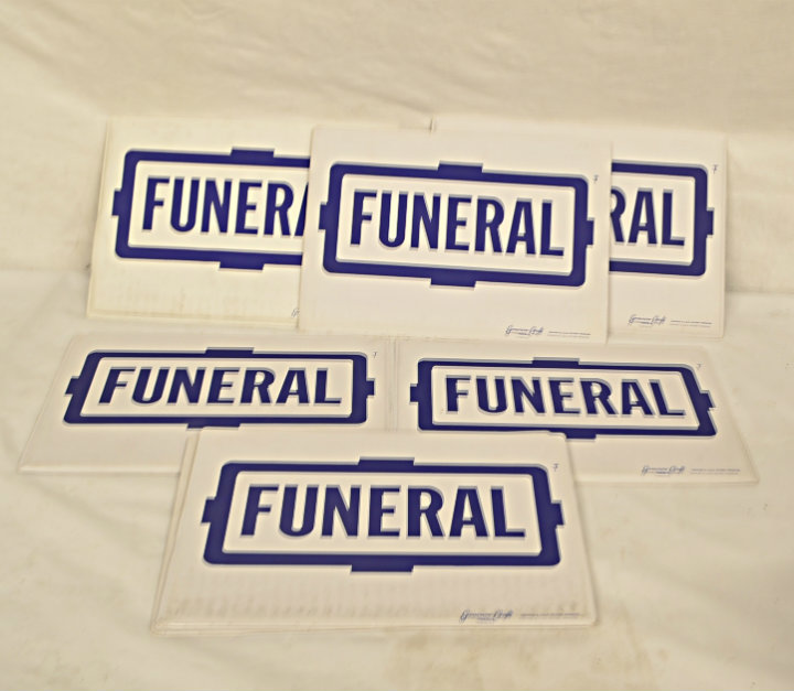 Funeral car cards
