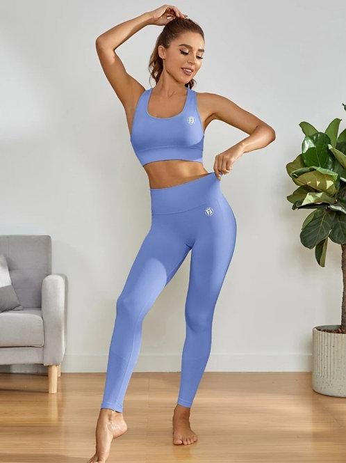 Blue FJ  High Waist Butt Scrunch Set