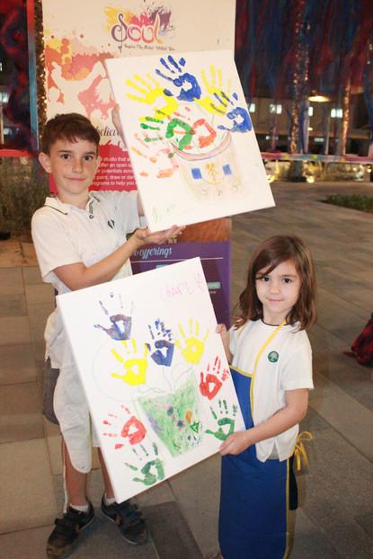 hand printing painting kids