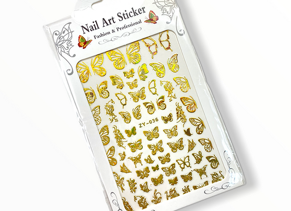 Gold Holo Butterfly Stickers- ZY036
