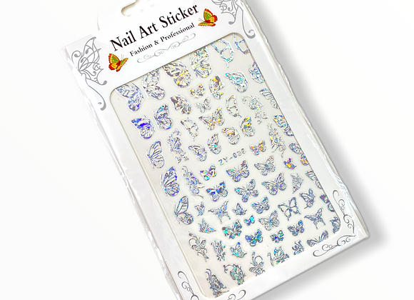 Silver Holo Butterfly Stickers- ZV036