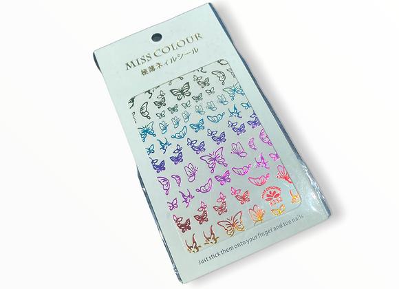 Rainbow Metallic Butterfly Stickers- R333