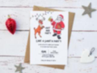 personalised santa party invitations, illustrated party invitations, bespoke chritmas party invitations, santa, reindeer, santa party, christmas party, christmas party invites, bespoke christmas party invites