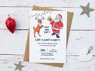 personalised santa party invitations, illustrated party invitations, bespoke chritmas party invitations, santa, reindeer, santa party, christmas party, christmas party invites, bespoke christmas party invites