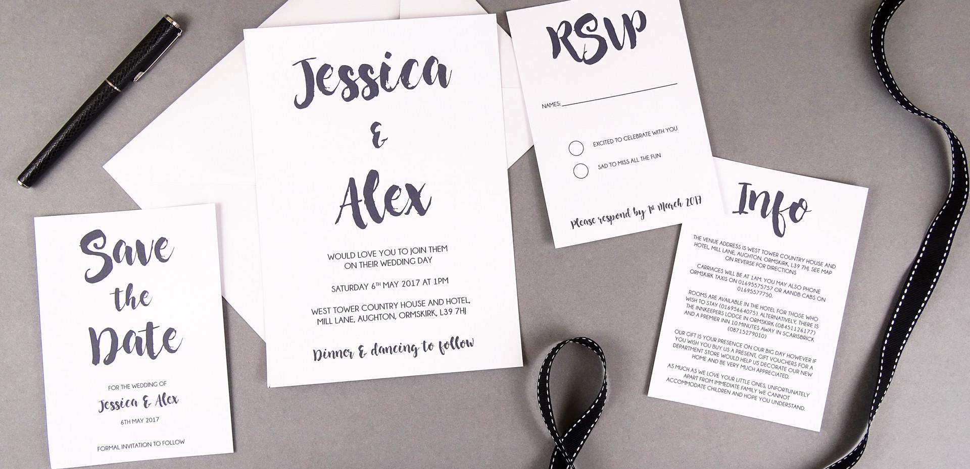 Marker Pen Bespoke Wedding Invitations, Save the Dates, RSVPs and Wedding Menus personalised wedding stationery by Bespoke Invites