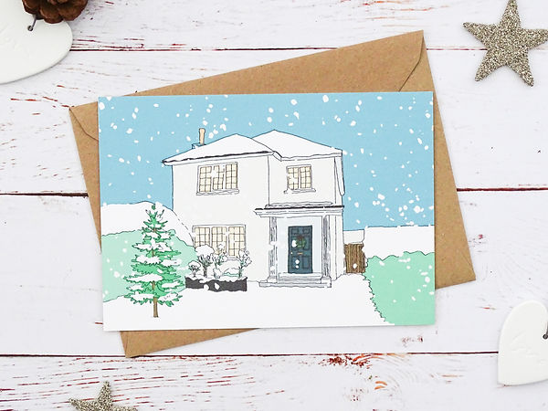 bespoke christmas illustration of your home, hand illustration of house, bespoke christmas cards, house at christmas, christmas hand illustration, personalised christmas cards