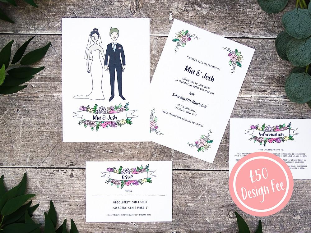 custom illustrated portrait wedding invitations hand drawn portrait wedding invitations personalised portrait wedding invite