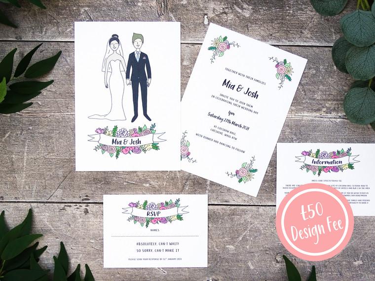 Custom Illustrated Portrait Wedding Invitations!