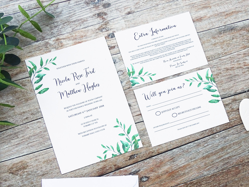 rustic vegetation bespoke wedding stationery, rustic bespoke wedding invitations, personalised wedding invitations, leaves wedding invitations, wedding stationery uk
