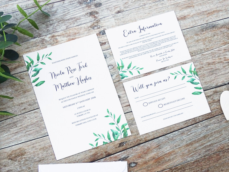 Rustic vegetation Bespoke Wedding Stationery!