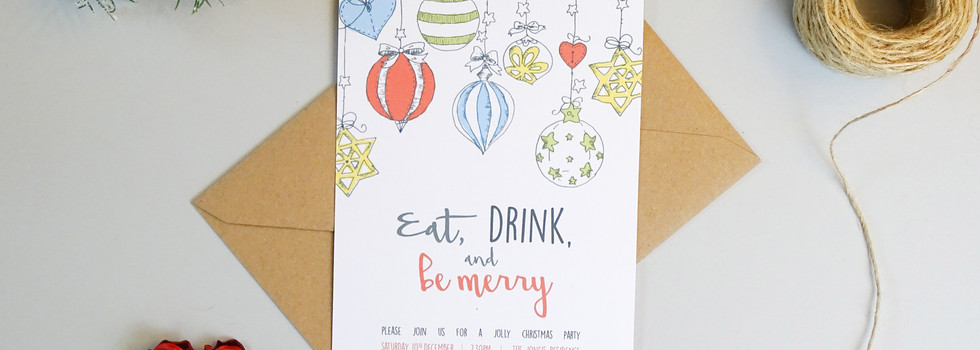 Eat, Drink and Be Merry Personalised Christmas Party Invitation