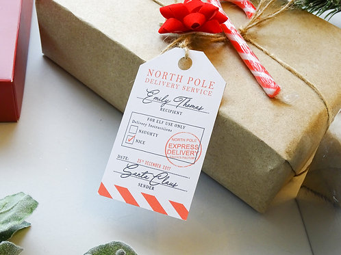 Personalised North Pole Gift Tag