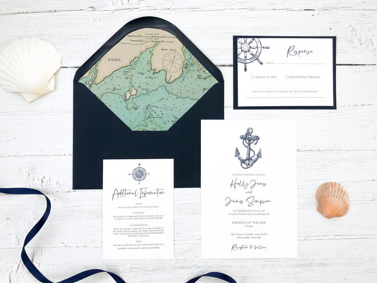 New Nautical Navy Themed Wedding Stationery!