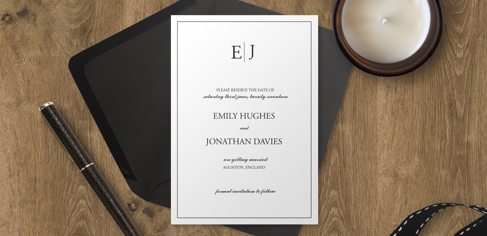 Sophisticated Monogram Bespoke Wedding Invitations, Save the Dates, RSVPs and Wedding Menus personalised wedding stationery by Bespoke Invites