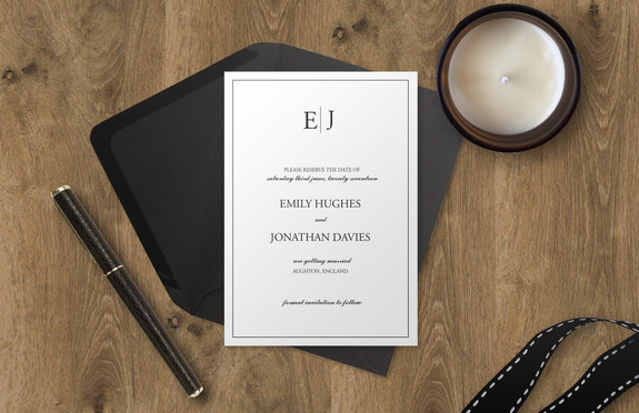 Sophisticated Monogram Bespoke Wedding Invitations, Save the Dates, RSVPs and Wedding Menus personalised wedding stationery by Bespoke Invites