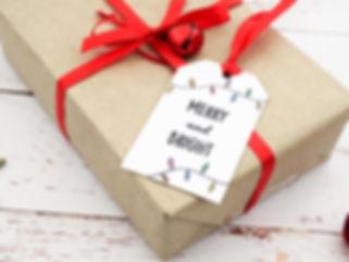 christmas gift tags, handmade christmas gift tags, string lights gift tags, satin ribbon, novelty gift tags