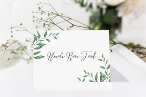 Rustic vegetation wedding place name card by Bespoke Invites