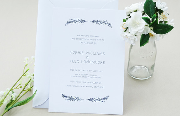 Feathers and Arrows Bespoke Wedding Invitations, Save the Dates, RSVPs and Wedding Menus personalised wedding stationery by Bespoke Invites