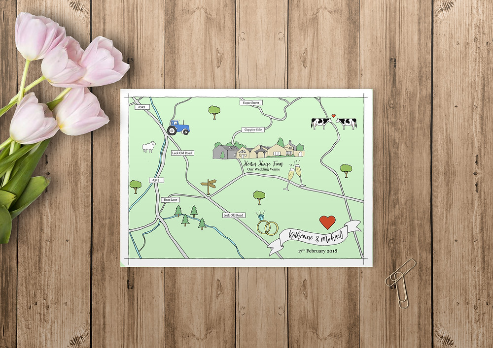hand illustrated wedding map, illustrated wedding map, illustrated wedding stationery, wedding map, hand drawn wedding map, bespoke illustrated wedding map, bespoke invites