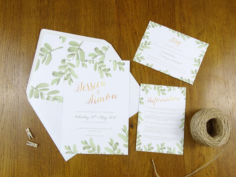 Foliage and Gold Wedding Stationery