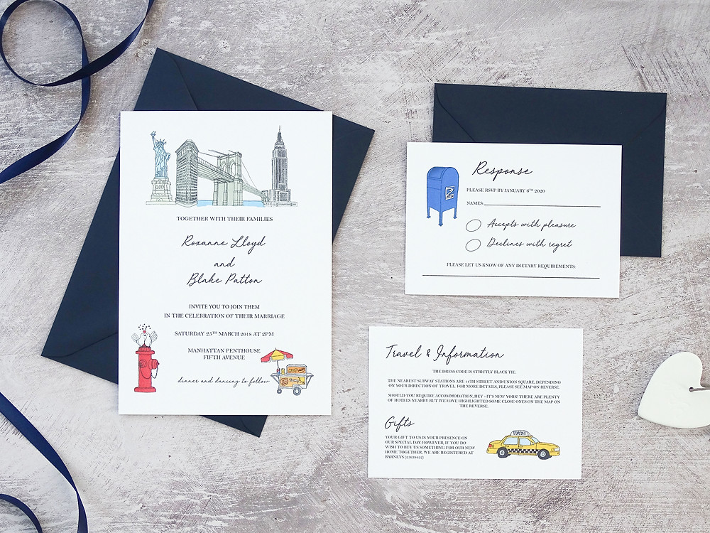 New York themed wedding invitations, rsvp and details card