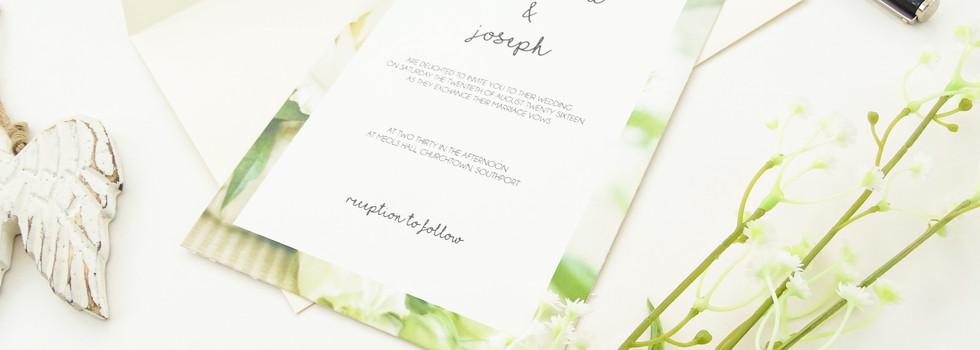White Rose Bespoke Wedding Invitations, Save the Dates, RSVPs and Wedding Menus personalised wedding stationery by Bespoke Invites