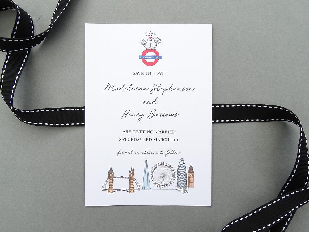london themed wedding invitations, london wedding invitations, bespoke wedding invitations, bespoke london wedding invitations, bespoke invites