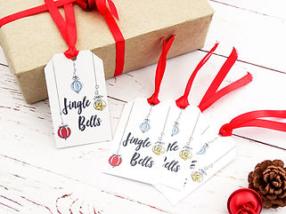 novelty christmas gift tags, jingle bells gift tags, christmas gifts, christmas gift tags, handmade christmas gift tags