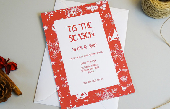 Festive Red Wrapping Personalised Christmas Party Invitation