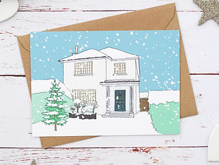 christmas home portrait, hand illustrated home portrait, christmas house portrait, bespoke house illustraton, christmas house illustraton, christmas family illustration, snow, christmas tree, personalised christmas cards