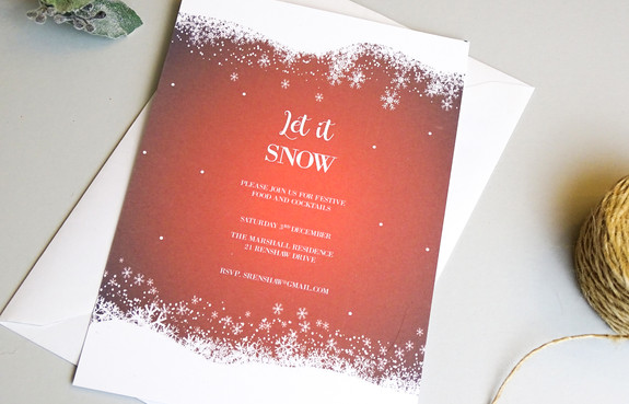 Red Snow Christmas Party Invitation