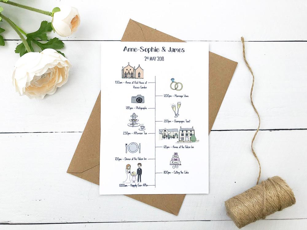 illustrated wedding timeline, bespoke wedding timeline, order of the day cards, hand illustrated wedding map, custom illustrated wedding map, wedding keepsakes, wedding ideas, wedding stationery