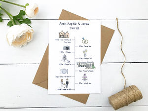 wedding timeline, illustrated wedding timeline, personalised wedding timeline, wedding order of the day cardbespoke wedding invitations, save the dates, order of the day cards, hand drawn wedding maps and bespoke wedding stationery by bespoke invites, bespoke invitations uk, personalised order of the day cards,