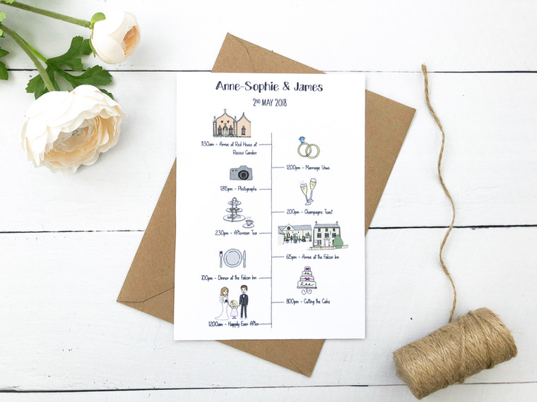 Wow Your Guests With Your Very Own Personalised Hand Illustrated Wedding Timelines!
