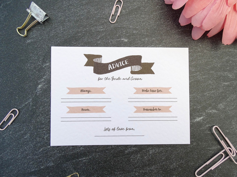 Wedding Advice Cards - On the Day Wedding Table Games