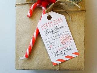 personalised north pole christmas gift tag, novelty christmas gift tags, north pole gift tags, christmas gift tag,