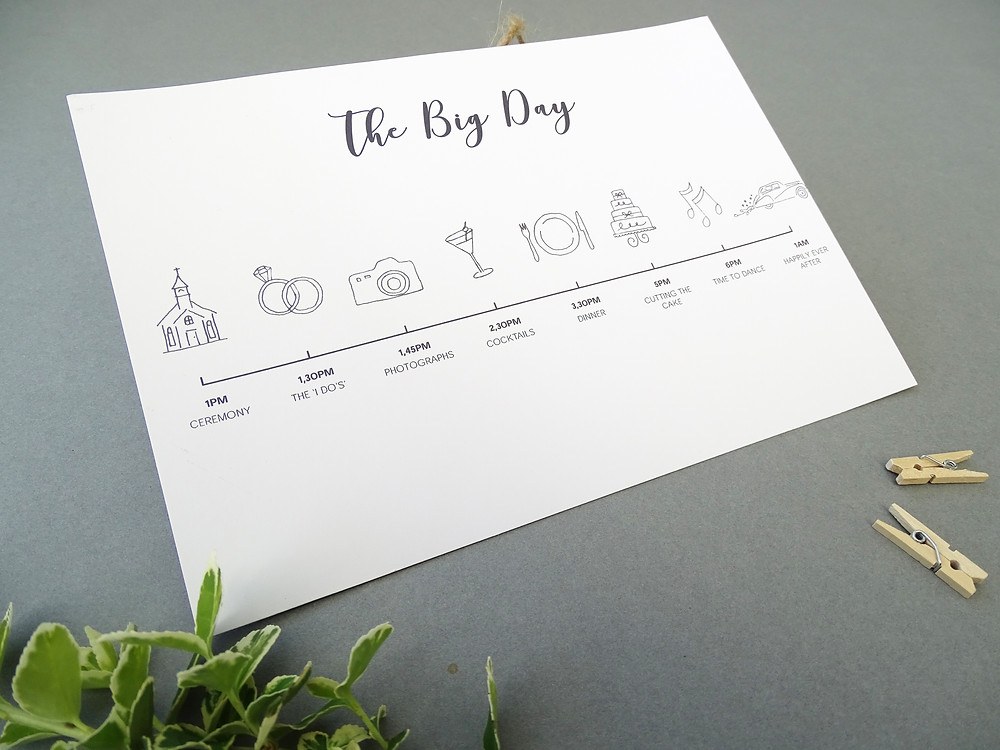 bespoke order of events, bespoke wedding itinerary, order of events cards, wedding order of events cards by bespoke invites