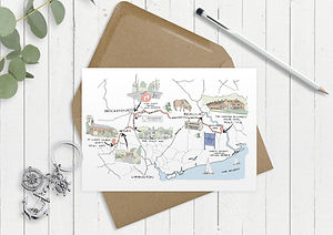 bespoke wedding inviations, bespoke wedding stationey, custom illustrated weddng map, illustrated wedding map, map wedding invitation, hand illustratebespoke invites wedding map, custom illustrated wedding map, bespoke invitations uk