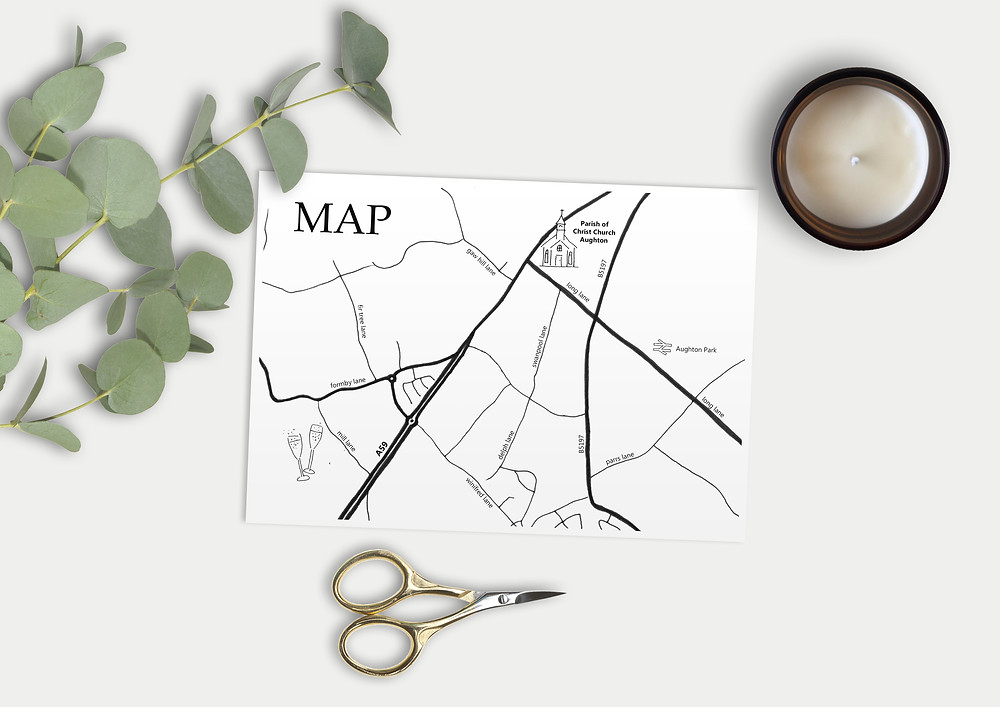 illustrated wedding maps, custom illustrated wedding maps, hand drawn wedding maps, hand drawn illustrated wedding maps, map wedding invitations, bespoke invites, bespoke wedding maps